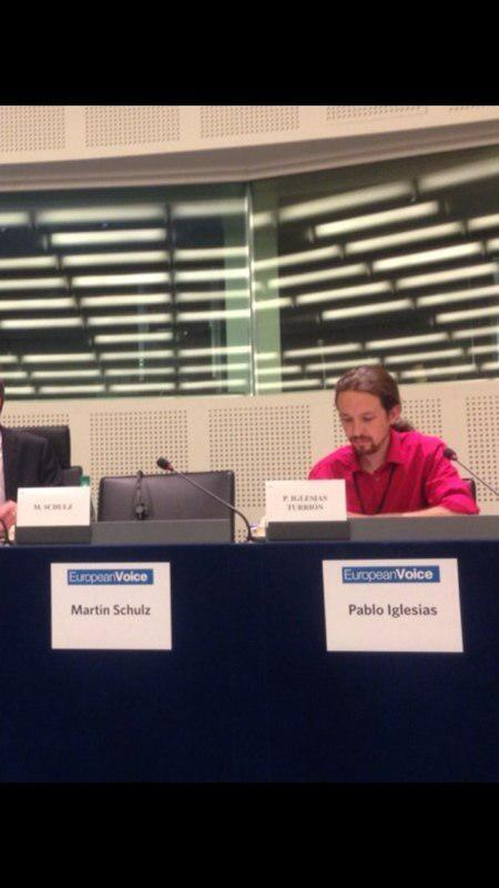 Pablo Iglesias at European Parliament Presidency candidates debate last night. Martin Schulz, who won the vote today, was not in attendance.